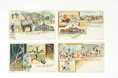 Vier prentbriefkaarten met afbeeldingen van het circus Barnum and Bailey
