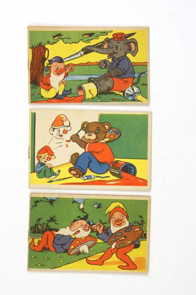 Drie kleurboekjes als reclame voor N.V. Zeepfabriek 'De Klok' in Heerde