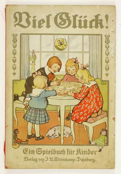 Boek met 4 bordspelen, Viel Glück. Zeppelin, vliegtuig, landschap en kermis