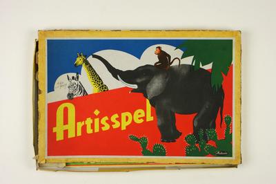 Bordspel Artisspel met vermelding 'De op dit spel voorkomende dieren zijn in levende lijve in Artis te Amsterdam te zien!