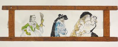 3 Toverlantaarnplaten behorende bij toverlantaarn S2013-0006.Handgeschilderde platen van liefdespaar, man op vis en Jupiter