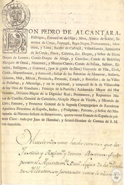 Libro de Acuerdos del año 1768 [Manuscrito] : Puebla de Albortón.