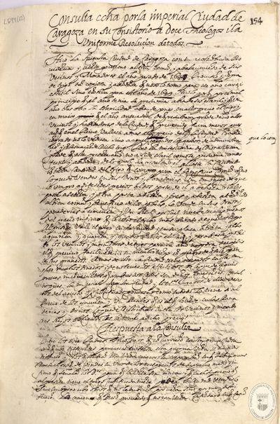 Consulta echa por la imperial ciudad de Zaragoza en su consistorio a doce théologos ita uniforme resolucion de todos [Manuscrito]