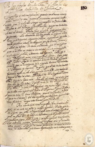 Por los frayles de San Fnco. y Monjas de Sta. Clara de la Villa de Cariñena [Manuscrito]