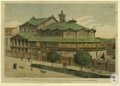 ZARAGOZA [Material gráfico]: Exterior del Teatro de Pignatelli, construido en la calle de la Independencia bajo la dirección del arquitecto Félix Navarro
