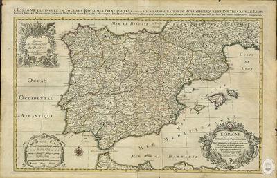 L'Espagne [Material cartográfico] : divisée en tous ses royaumes et principautés, suivant quil's sont compris sous les couronnes de Castille, et d'Aragon, possedées par le roy Catholique et sous la couronne de Portugal posedée par le roy de Portugal tiré de plusieurs Memoires les plus recents