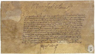 Por quanto en la armada de mi cargo esta vaca la Plaça de alferez real... [Manuscrito] [Nombramiento como alférez real de la armada de Francisco Colón y Cardona, hijo de Cristóbal de Cardona y Colón, almirante de Aragón y perpetuo de las Indias]