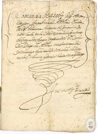[Declaración efectuada en Ejea de los Caballeros (Zaragoza), en la que manifiesta la posesión en comanda de 4.100 sueldos jaqueses del Dr. Diego de Ablitas] [Manuscrito]