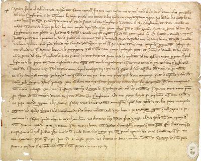 [Carta, expedida en Zaragoza, dirigida a Jaime II de Aragón, solicitando que le sea concedido a Ramón Cornell permiso para intervenir junto a los ingleses en la guerra entre Francia e Inglaterra] [Manuscrito]