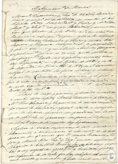[Memorial dirigido al Ayuntamiento de Hecho (Huesca), relativo a la herencia de sus padres] [Manuscrito]