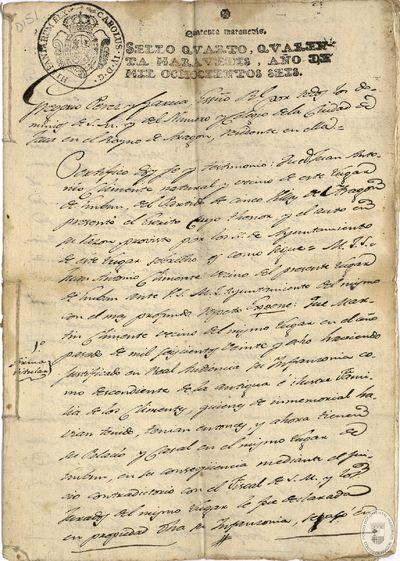 [Certificación sobre la infanzonía de Juan Antonio Climente, natural y vecino de Embún (Huesca)] [Manuscrito]