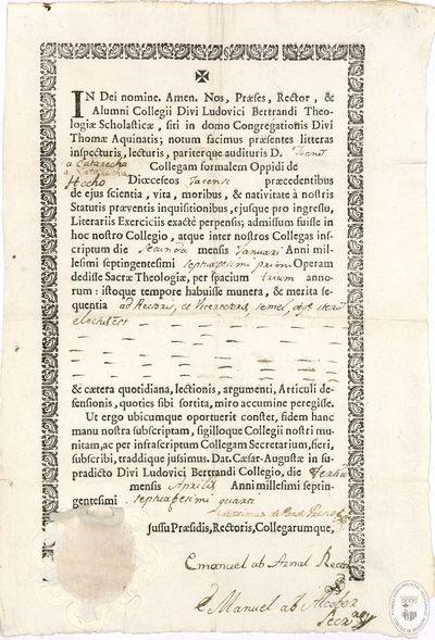 In Dei nomine. Amen [Texto impreso] : [Certificación, correspondiente a los estudios de teología realizados por Juan Catarecha de Hecho]