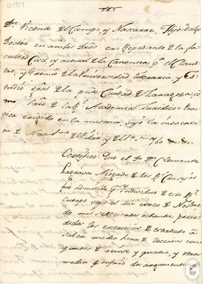 [Certificado, expedido en Zaragoza, de admisión de Clemente Lagrava en el Real Cuerpo de Abogados de los Consejos] [Manuscrito]