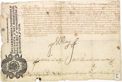 Transmisión del título de Montero real a Pedro de Saravia [Manuscrito]