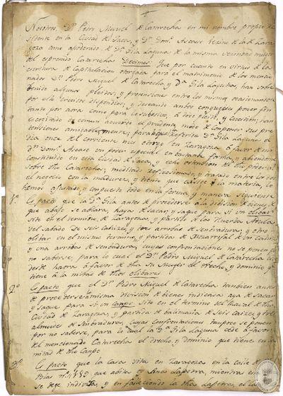 [Rectificaciones efectuadas en Jaca (Huesca), a las capitulaciones matrimoniales de Pedro Miguel de Catarecha y Gila Laguna] [Manuscrito]