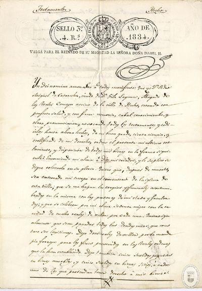 [Testamento de Pedro Miguel de Catarecha, viudo de Gila Laguna, efectuado en Hecho (Huesca), ] [Manuscrito]