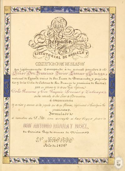[Ejecutoria de nobleza, concedida en Madrid, a favor de Francisco Javier Leonar y Zuloaga, natural de Logroño y vecino de San Lúcar de Barrameda, y certificación del blasón de la villa de Tauste] [Manuscrito]