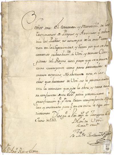 [Documentación sobre contribuciones municipales dirigida a Antonio de Ric y Exea] [Manuscrito]