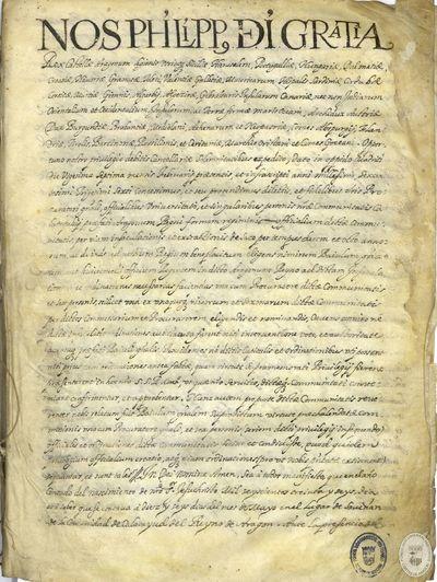 [APROBACIÓN de las ordinaciones de la comunidad de Calatayud, firmadas por el rey Felipe IV] [Manuscrito]