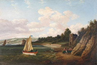 Figures and Sailing Boats in Whitepoint, Cork Harbour