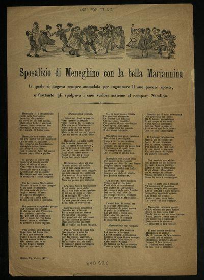 Sposalizio di Meneghino con la bella Mariannina : la quale si fingeva sempre ammalata per ingannare il suo povero sposo, e frattanto gli spolpava i suoi sudori assieme al compare Natalino