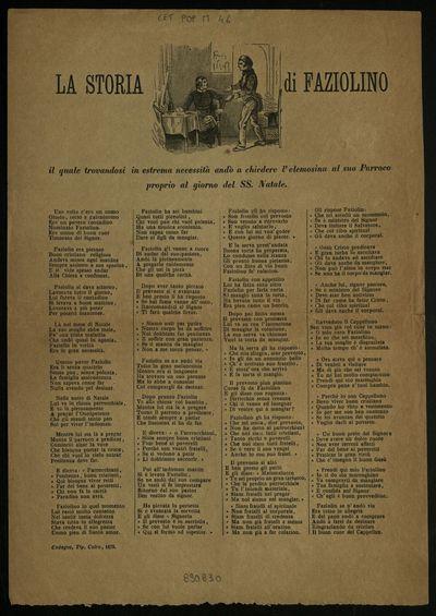 Istoria di Faziolino : il quale trovandosi in estrema necessità andò a chiedere l'elemosina al suo Parroco proprio il giorno del SS. Natale