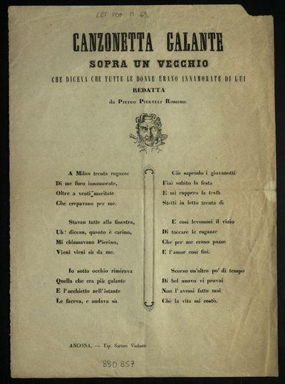 Canzonetta galante sopra un vecchio che diceva che tutte le donne erano innamorate di lui redatta da Pietro Pierelli Romano