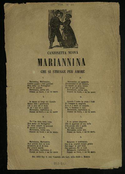 Mariannina che si strugge per amore : canzonetta nuova