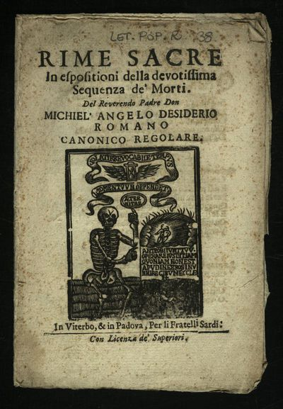 Rime sacre in espositioni della devotissima sequenza de' morti. Del Reverendo Padre Don Michel'Angelo Desiderio romano ...