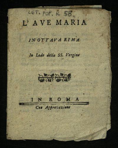 L'Ave Maria in ottava rima in lode della SS. Vergine
