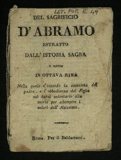 Del sagrificio d'Abramo estratto dall'istoria sagra e messo in ottava rima ...