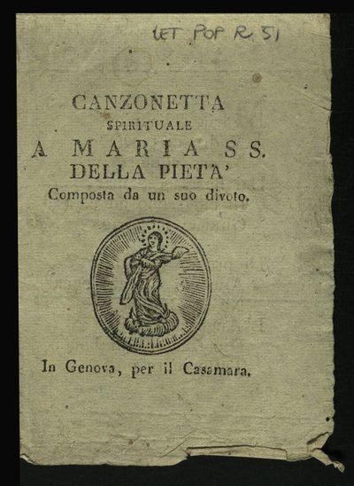 Canzonetta spirituale a Maria SS. della Pietà composta da un suo divoto