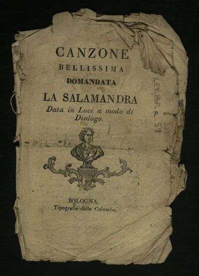Canzone bellissima domandata la Salamandra data in luce a modo di dialogo