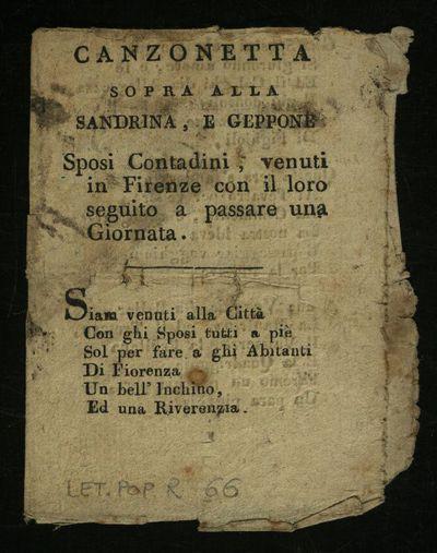 Canzonetta sopra alla Sandrina, e Geppone sposi contadini, venuti in Firenze con il loro seguito a passare una giornata