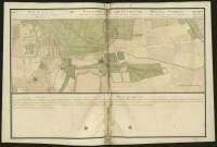 Atlas de Trudaine pour la généralité d'Alençon. Grande route de Paris en Bretagne par Verneuil et Mortagne depuis la Piramide de Dreux jusqu'à celle du Gué-David. Portion de route d'en-deçà La-Girardière à bien au-delà d'Aché. Alignement projeté.