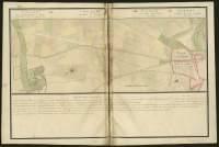 Atlas de Trudaine pour la généralité d'Alençon. Grande route de Paris en Bretagne par Verneuil et Mortagne depuis la Piramide de Dreux jusqu'à celle du Gué-David. Portion de route du pont de Londeau, à hauteur de Le-Mesnil-Maton, arrivant à Alençon. Alignement projeté.