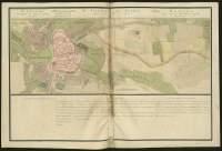 Atlas de Trudaine pour la généralité d'Alençon. Grande route de Paris en Bretagne par Verneuil et Mortagne depuis la Piramide de Dreux jusqu'à celle du Gué-David. Portion de route traversant Alençon et allant au-delà jusqu'à Beau-Séjour. Alignement projeté.
