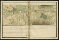 Atlas de Trudaine pour la généralité d'Alençon. Grande route de Paris en Bretagne par Verneuil et Mortagne depuis la Piramide de Dreux jusqu'à celle du Gué-David. Portion de route depuis le hameau de Mélivier, traversant l'étang de Saint-Denis et longeant l'étang Paillard et l'étang de Buhérus.
