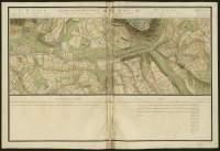 Atlas de Trudaine pour la généralité d'Alençon. Grande route de Paris en Bretagne par Verneuil et Mortagne depuis la Piramide de Dreux jusqu'à celle du Gué-David. Portion de route entre Tinet, Buherus et La-Banterie, allant jusqu'à la butte de Lansiliet, près de Le-Noyer.
