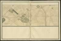 Atlas de Trudaine pour la généralité d'Alençon. Grande route de Paris à Caen par Lizieux depuis le château de Graveron jusqu'au pont de Dive. Portion de route à partir de la ferme Le-Baligand, à hauteur du bois de Semerville, passant dans le hameau de Renneville (Raineville) et allant un peu au-delà de La-Croix-Poulain, à hauteur du hameau Le-Menilfroid.