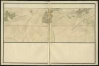 Atlas de Trudaine pour la généralité d'Alençon. Grande route de Paris à Caen par Lizieux depuis le château de Graveron jusqu'au pont de Dive. Portion de route longeant La-Neuville (La-Neuville-de-Combon) et Escardenville jusqu'à hauteur du hameau de Fumichon.