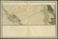 Atlas de Trudaine pour la généralité d'Alençon. Grande route de Paris à Caen par Lizieux depuis le château de Graveron jusqu'au pont de Dive. Portion de route entre Perriers-la-Campagne (Périers) et La-Rivière-Thibouville.
