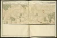 Atlas de Trudaine pour la généralité d'Alençon. Grande route de Paris à Caen par Lizieux depuis le château de Graveron jusqu'au pont de Dive. Portion de route de La-Buissonnière (La-Bissonière), à hauteur de Thiberville, jusqu'à l'entrée du bourg de L*Hôtellerie.