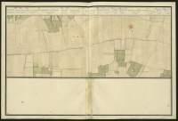 Atlas de Trudaine pour la généralité d'Alençon. Grande route de Paris à Caen par Lizieux depuis le château de Graveron jusqu'au pont de Dive. Portion de route, à hauteur du mont Pipart, longeant la terre de M. de Grieux et la baronnie du Houley jusqu'au-delà du croisement avec l'avenue du château Houley, à hauteur d'Amhague.