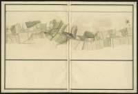 Atlas de Trudaine pour la généralité d'Alençon. Grande route de Paris à Caen par Lizieux depuis le château de Graveron jusqu'au pont de Dive. Portion du chemin de Caen depuis La-Poterie, par le Pont Coupe-Gorge jusqu'au-delà du Carrefour-Saint-Aubin.
