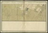 Atlas de Trudaine pour la généralité d'Alençon. Grande route de Paris à Caen par Lizieux depuis le château de Graveron jusqu'au pont de Dive. Portion de la route partant du pont Merdrac et aboutissant au pont de Dives, passant par Corbon et Biéville, proche du château du Rupière.