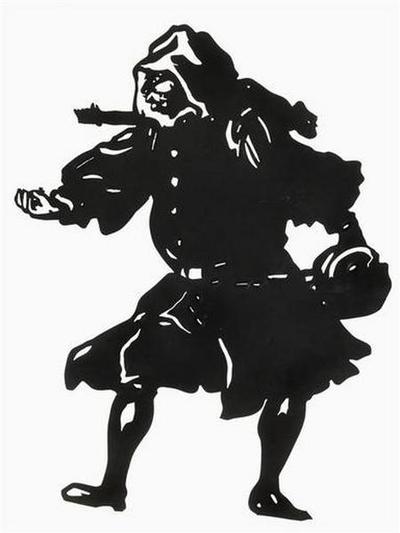 silhouette ; Homme en costume du XVII siècle avec perruque