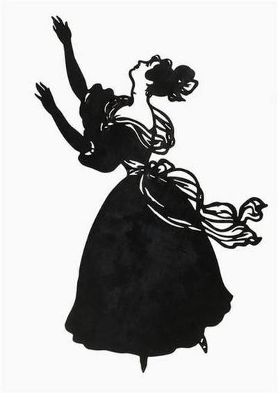 silhouette ; Jeune femme en costume de bal