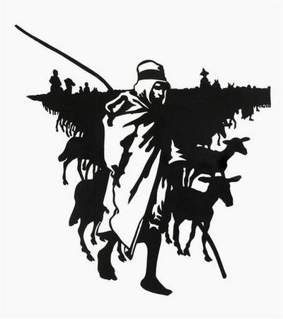 silhouette ; Bédouin gardant ses moutons