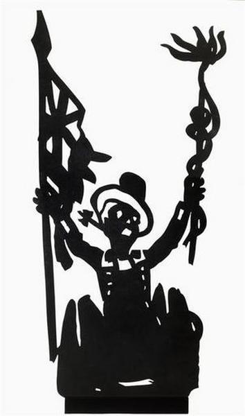 silhouette ; Personnage au chapeau melon tenant un étandard et un caducée